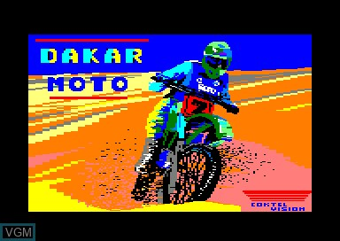 Title screen of the game Dakar Moto on Amstrad CPC