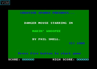 Title screen of the game Danger Mouse - Makin' Whopee on Amstrad CPC