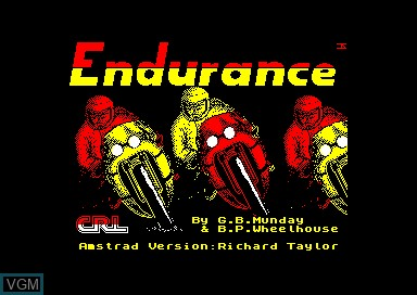 Title screen of the game Endurance on Amstrad CPC