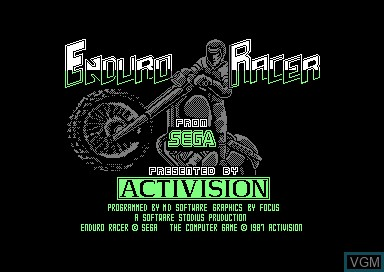 Title screen of the game Enduro Racer on Amstrad CPC