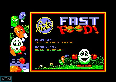 Title screen of the game Fast Food Dizzy on Amstrad CPC