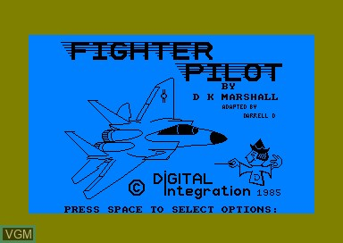 Title screen of the game Fighter Pilot on Amstrad CPC