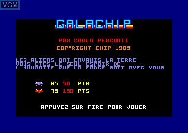 Title screen of the game Galachip on Amstrad CPC