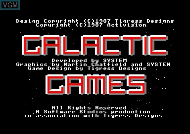 Title screen of the game Galactic Games on Amstrad CPC