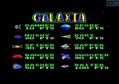 Title screen of the game Galaxia on Amstrad CPC
