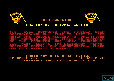 Title screen of the game Into Oblivion on Amstrad CPC