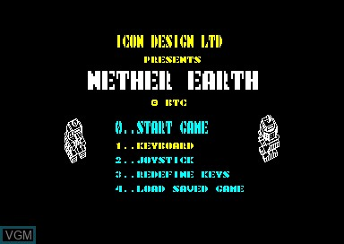 Title screen of the game Nether Earth on Amstrad CPC