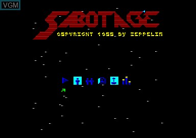 Title screen of the game Sabotage on Amstrad CPC