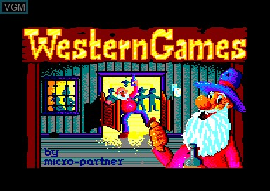 Title screen of the game Western Games on Amstrad CPC