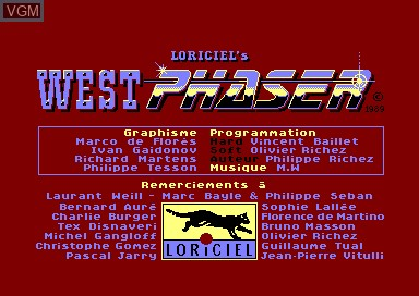 Title screen of the game Westphaser on Amstrad CPC