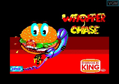 Title screen of the game Whopper Chase on Amstrad CPC