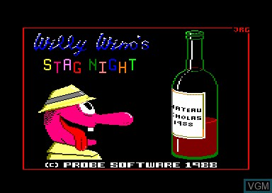 Title screen of the game Willy Wino's Stag Night on Amstrad CPC