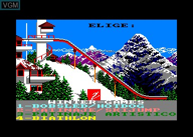 Title screen of the game Winter Games on Amstrad CPC