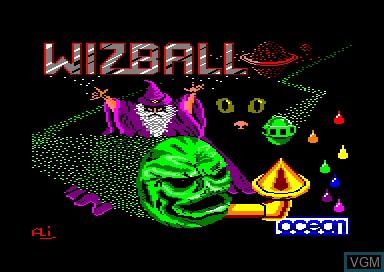 Title screen of the game Wizball on Amstrad CPC