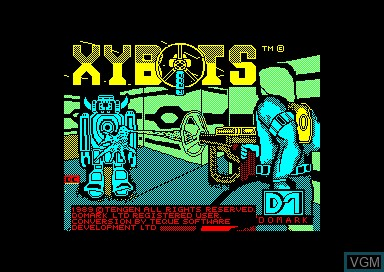 Title screen of the game Xybots on Amstrad CPC