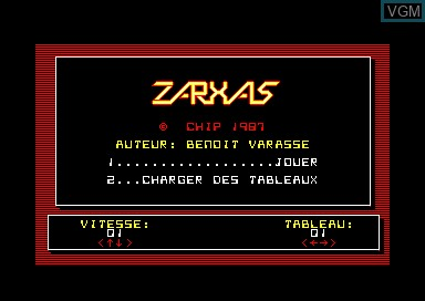 Title screen of the game Zarxas on Amstrad CPC