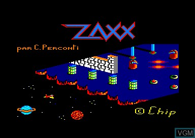 Title screen of the game Zaxx on Amstrad CPC