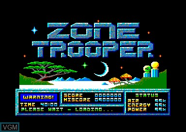 Title screen of the game Zone Trooper on Amstrad CPC