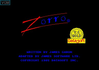 Title screen of the game Zorro on Amstrad CPC