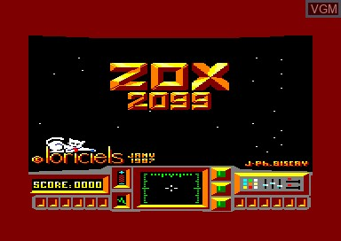 Title screen of the game Zox 2099 on Amstrad CPC