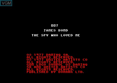 Title screen of the game 007 - The Spy Who Loved Me on Amstrad CPC