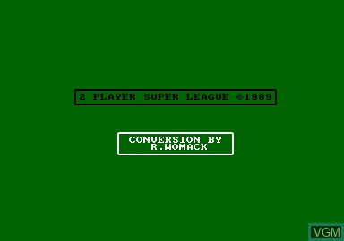 Title screen of the game 2 Player Super League on Amstrad CPC