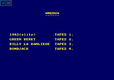 Title screen of the game 1942 & Billy La Banlieue & Bombjack & Green Beret on Amstrad CPC