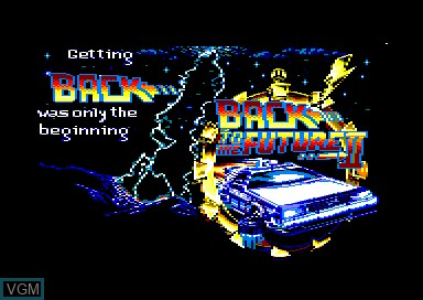 Title screen of the game Back to the Future 2 on Amstrad CPC
