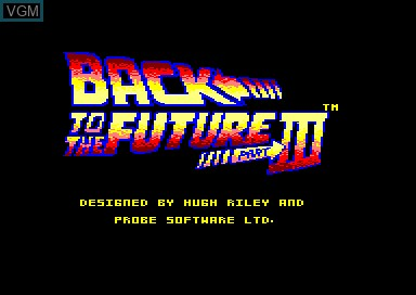 Title screen of the game Back to the Future 3 on Amstrad CPC