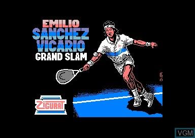 Title screen of the game Emilio Sanchez Vicario Grand Slam on Amstrad CPC
