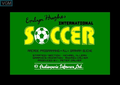 Title screen of the game Emlyn Huges' International Soccer on Amstrad CPC