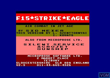 Title screen of the game F-15 Strike Eagle on Amstrad CPC