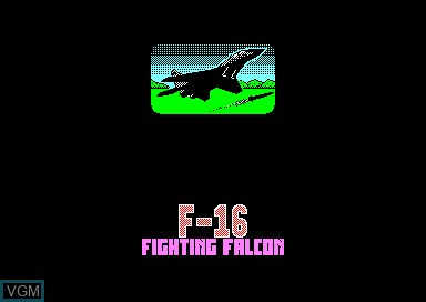 Title screen of the game F-16 Fighting Falcon on Amstrad CPC