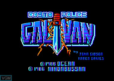 Title screen of the game Galivan on Amstrad CPC