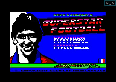 Title screen of the game Gary Lineker's Super Star Football on Amstrad CPC