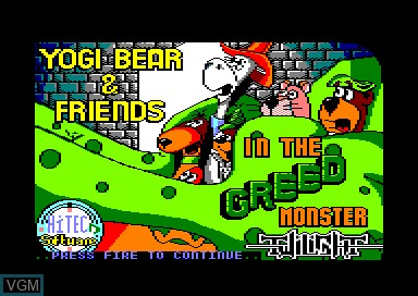 Title screen of the game Yogi Bear and Friends in Greed Monster on Amstrad CPC