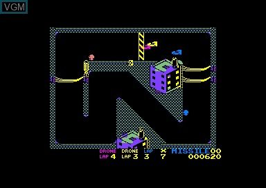 In-game screen of the game Badlands on Amstrad CPC