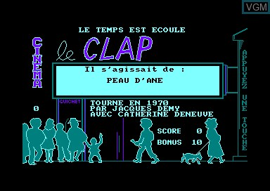In-game screen of the game Cine Clap on Amstrad CPC