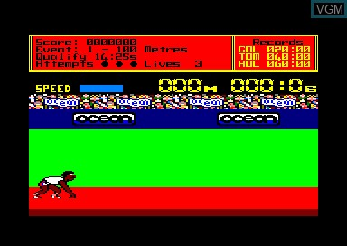 In-game screen of the game Daley Thompson's Decathlon on Amstrad CPC