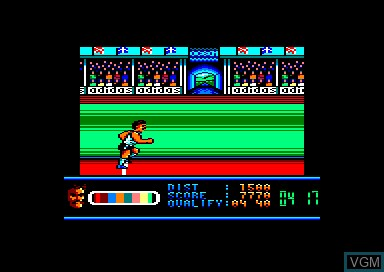 In-game screen of the game Daley Thompson's Olympic Challenge on Amstrad CPC
