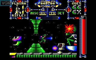 In-game screen of the game Dan Dare 3 on Amstrad CPC