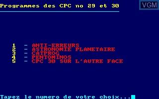 Disque CPC No 15 - Programmes des CPC No 29 - 30