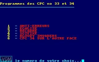 Disque CPC No 17 - Programmes des CPC No 33 - 34
