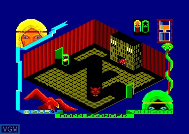 In-game screen of the game Doppleganger on Amstrad CPC