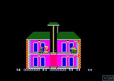 In-game screen of the game Elevator Action on Amstrad CPC
