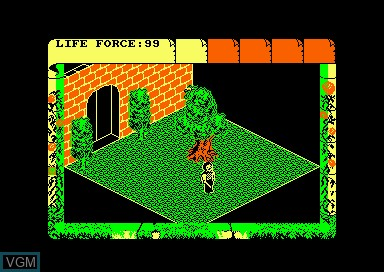 In-game screen of the game Fairlight 2 on Amstrad CPC