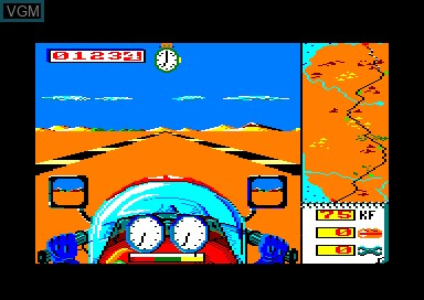 In-game screen of the game Dakar Moto on Amstrad CPC