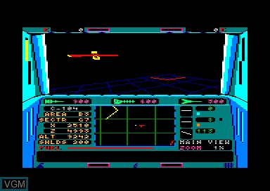 In-game screen of the game Echelon on Amstrad CPC