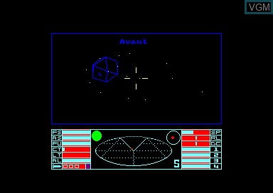 In-game screen of the game Elite on Amstrad CPC