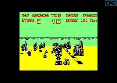 In-game screen of the game Enduro Racer on Amstrad CPC